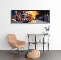 Framed 16 x 48 - Sunset streetscape to toronto