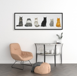 Framed 16 x 48 - Six cats lined up back view
