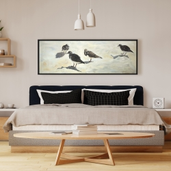 Framed 16 x 48 - Sandpiper birds