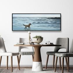 Framed 16 x 48 - Dog on the beach