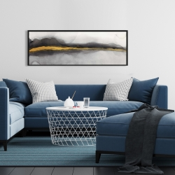 Framed 16 x 48 - Gold stripe abstract