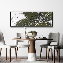 Framed 16 x 48 - Green flower with splash outline