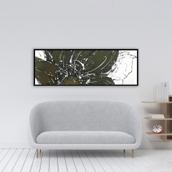 Framed 16 x 48 - Abstract flower with paint splash