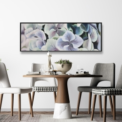 Framed 16 x 48 - Colorful hydrangea flowers