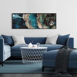 Framed 16 x 48 - Blue flower montage