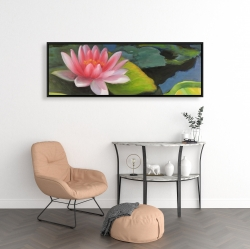 Framed 16 x 48 - Water lilies and lotus flowers