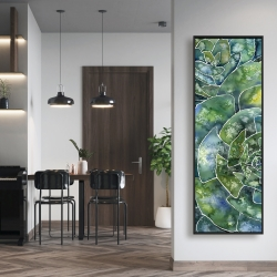 Framed 16 x 48 - Abstract succulents