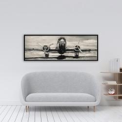 Framed 16 x 48 - Sepia airplane