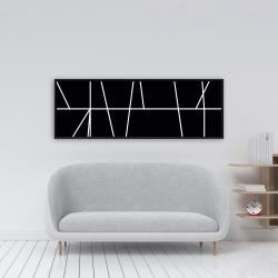 Framed 16 x 48 - White stripes on black background