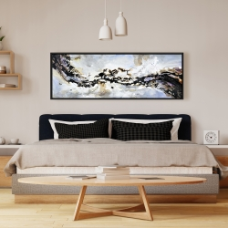 Framed 16 x 48 - Texturized abstract wave