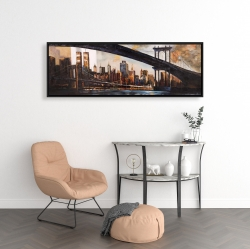 Framed 16 x 48 - Sunset over new york