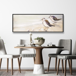 Framed 16 x 48 - Two sandpipers on the beach