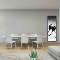 Framed 16 x 48 - Five birds perched