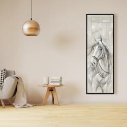 Framed 16 x 48 - Worthy white horse