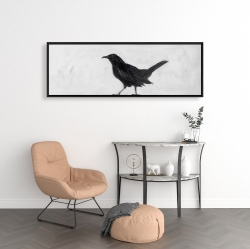Framed 16 x 48 - Lonely crow