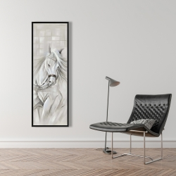 Framed 16 x 48 - White horse with his mane in the wind