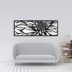 Framed 16 x 48 - Dahlia flower outline style