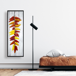 Framed 16 x 48 - Rope of peppers with wood background