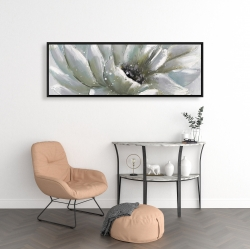 Framed 16 x 48 - White chrysanthemum