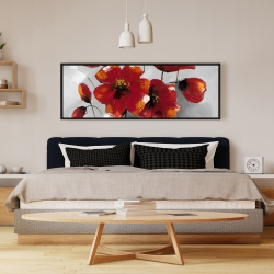 Framed 16 x 48 - Anemone flowers