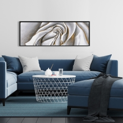 Framed 16 x 48 - White rose delicate