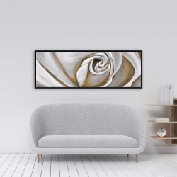 Framed 16 x 48 - White rose closeup