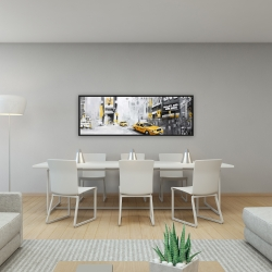 Framed 16 x 48 - New york city with taxis