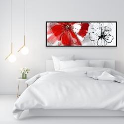 Framed 16 x 48 - Red & gray flowers