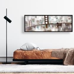 Framed 16 x 48 - Abstract golden gate