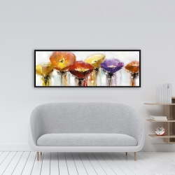 Framed 16 x 48 - Multiple colorful abstract flowers