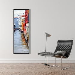 Framed 16 x 48 - Colorful and texturized city on the water