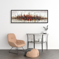 Framed 16 x 48 - Abstract colorful skyscrapers