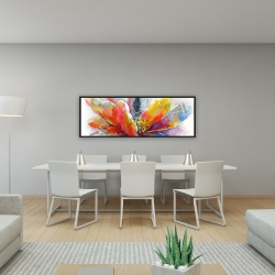 Framed 16 x 48 - Abstract flower with texture