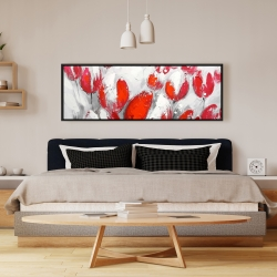 Framed 16 x 48 - Red tulips