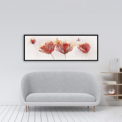 Framed 16 x 48 - Crimson flowers and butterfly