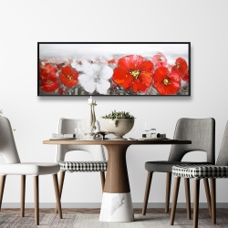 Framed 16 x 48 - Gray field with red flowers