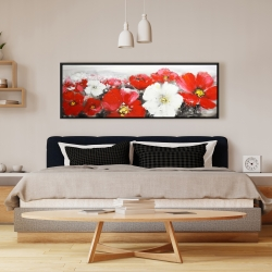 Framed 16 x 48 - Red and white flowers field
