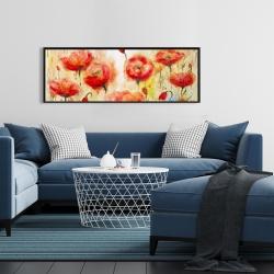 Framed 16 x 48 - Red flowers garden