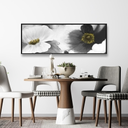 Framed 16 x 48 - Black and white flowers