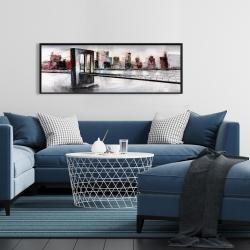 Framed 16 x 48 - Abstract bridge cityscape