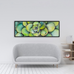 Framed 16 x 48 - Watercolor succulent plant