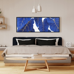 Framed 16 x 48 - Tropical abstract blue leaves