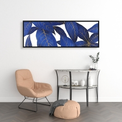 Framed 16 x 48 - Abstract modern blue leaves