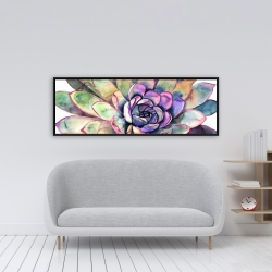 Framed 16 x 48 - Multicolored succulent