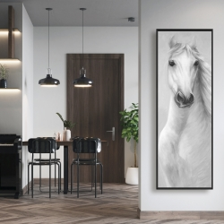 Framed 16 x 48 - Monochrome mighty white horse