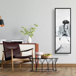Framed 16 x 48 - Woman in the rain