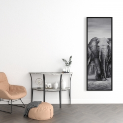 Framed 16 x 48 - Herd of elephants