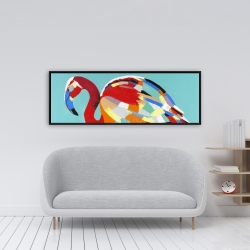Framed 16 x 48 - Abstract flamingo