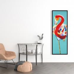 Framed 16 x 48 - Colorful flamingo