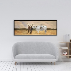 Framed 16 x 48 - Two cows kissing by sunset